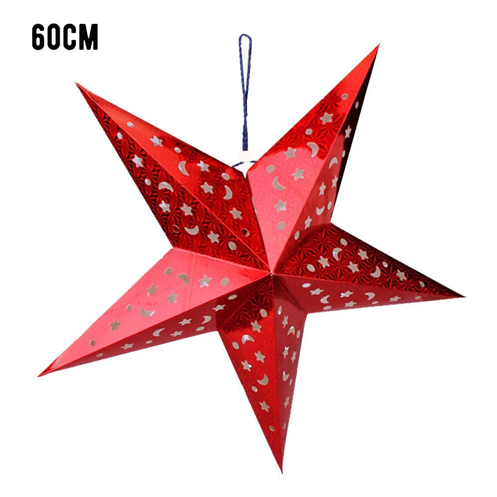 "HOBOYER 1 Pcs Paper Star Lantern, Hanging Colorful Laser Pentagram Lampshade for Christmas, Home, Party Decor Size 23.6"" (Red 2)"
