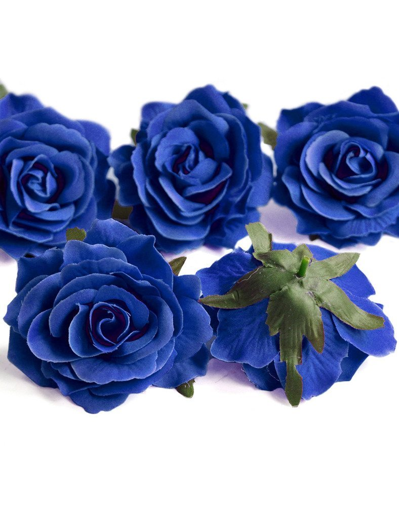 Cheap royal blue hair flower find royal blue hair flower deals on get quotations ajetex 10pcs artificial rose flower heads royal blue diameter 100mm wedding party decor hair clip accessories izmirmasajfo