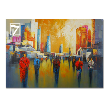Canvas Painting Abstract People Walking On City Oil Painting On Canvas Wall Art For Sofa Buy Canvas Painting People Walking On City Wall Art For