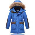 2016 Higt Quality Winter Boys Down Parka Coats Fashion Big Fur Collar Long Thick Warm Outerwear