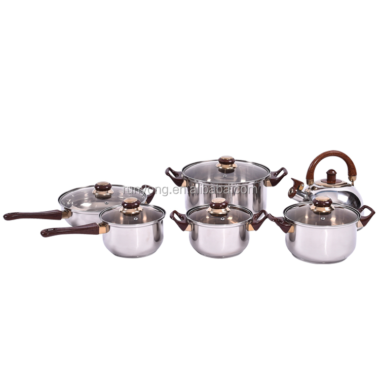 2017 New Design Factory Direct Supply Camping Stainless Steel Hot Pot Cooking Pot Sets