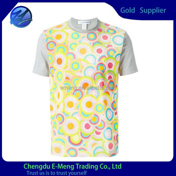 Custom full front print different color t shirts for man for Custom full color t shirt printing