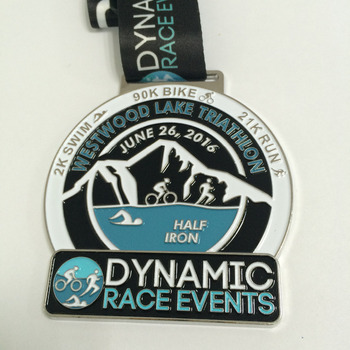 Custom Triathlon Medal For Race Events Of Bike Swim And Run That Has A Lake  And Mountain Logo With Ribbon As Award Medal - Buy Triathlon Medal,Bike