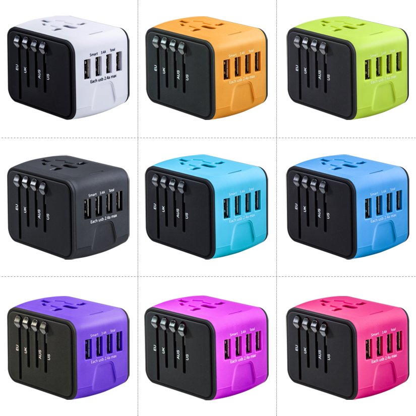 China ende fabrik perfekte werbe kleinste alle in einem globalen mehrzweck 4 usb travel power adapter nach service
