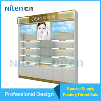 Customized Wooden ,Titanium steel furniture cosmetics display/MDFcosmetics display case/acrylic