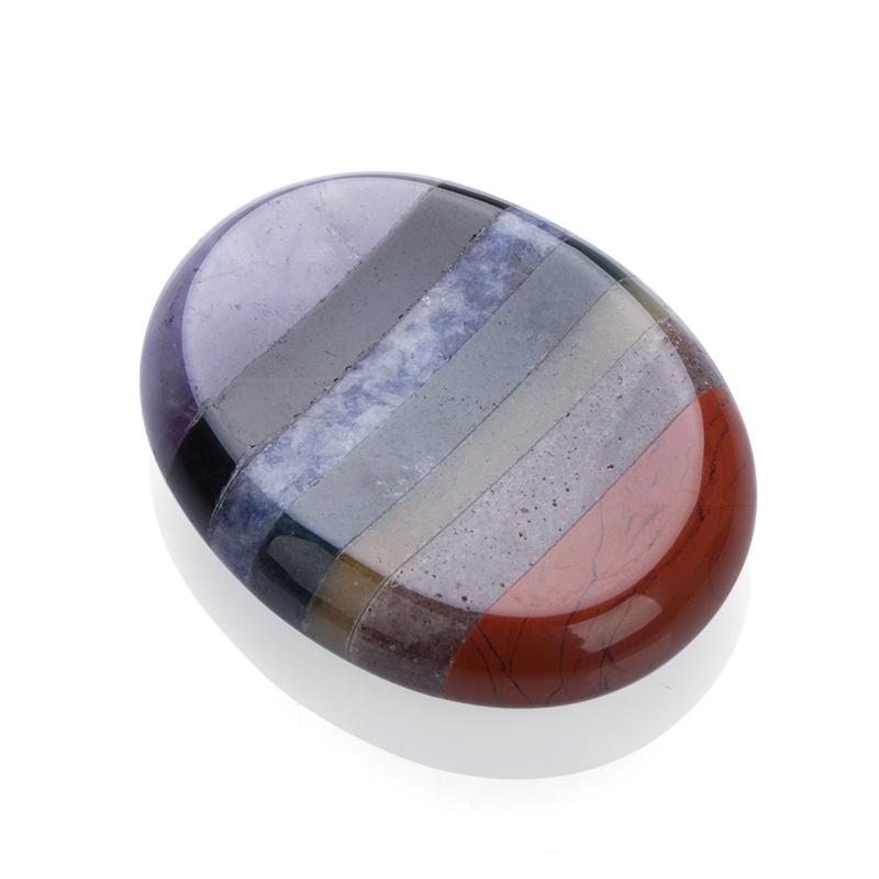 Healing Crystal 7 chakra Stones Hand Carved Worry Stones Palm Pocket Stone Reiki Balancing