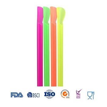Rainbow Colored Food Safe Plastic Drinking Spoon Straw