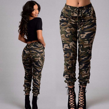 ZH2505G High Waist Women's Camo Pants Loose Pencil Trousers Streetwear Camouflage Pantalon Femme Hip Hop Harem Pants