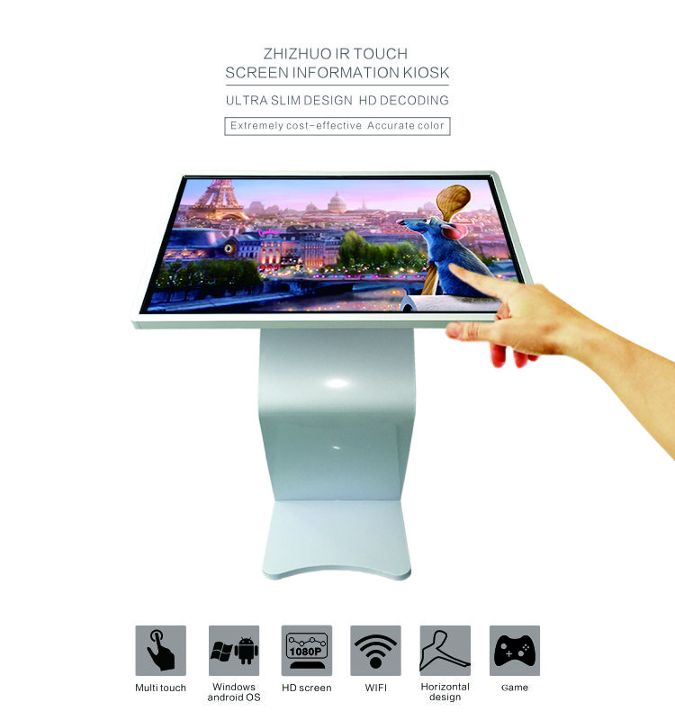 Indoor LG touch screen android advertising display information kiosk with camera