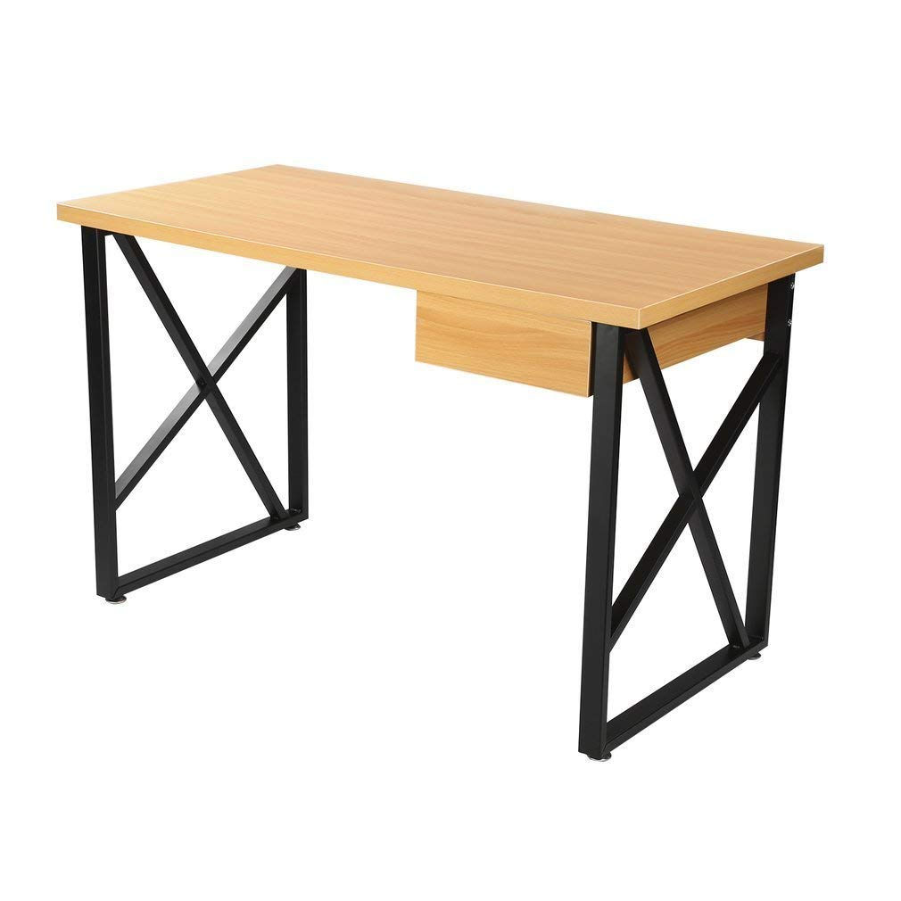 GOGOUP ICOCO Desktop Computer Desk, Wood Writing Desk, Laptop PC/Notebook Stand Table with Drawer for Home Office Workstation