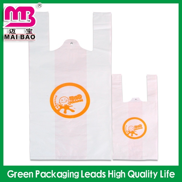 basic style large recycled feature restaurant food take away plastic tshirt bag