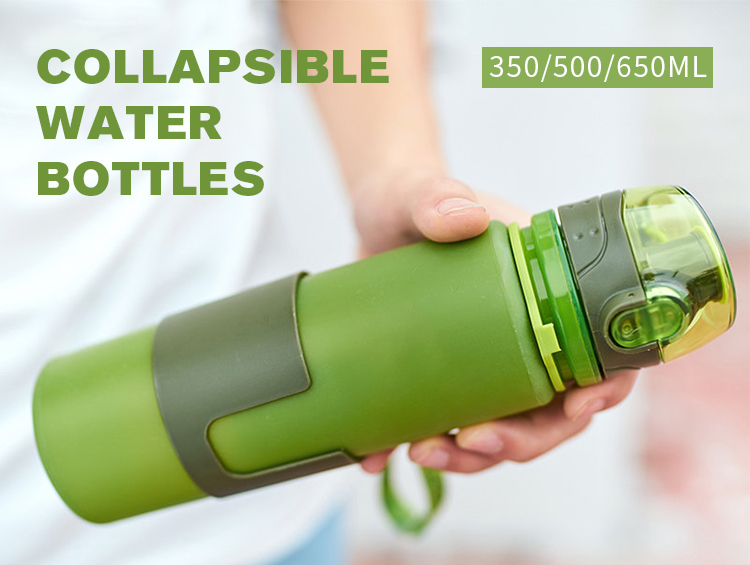 Free Samples Collapsible Silicone Water Bottle Sport 650ml Motivational Foldable Bottle With Custom Drinking Straw