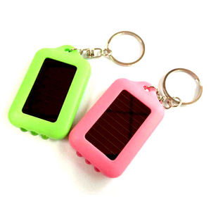 Factory Custom Cheap Advertising Promotion Solar Key Chain,  Mini Led Flashlight Keychain With Custom Logo