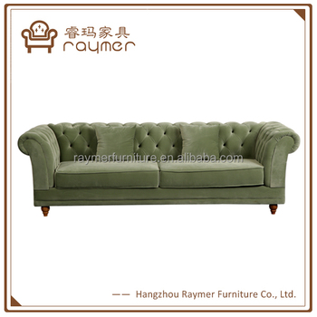 French Apple Green Velvet Fabric Upholstered Button Chesterfield Sofa