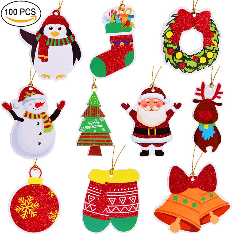 Christmas Gift Tags Tie On With String 100 Count For Merry Christmas Holiday Gift Bags Party Supplies