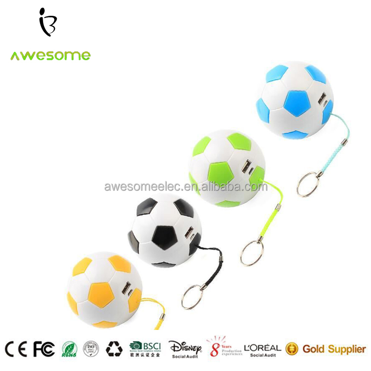 2016 Newest keychain football Power Bank, round ball battery Recharger, customized mini portable power charger