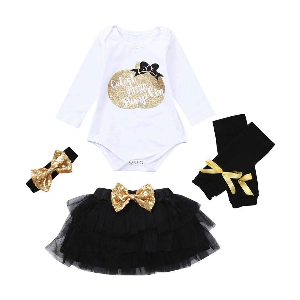 Infant Halloween Costume Sets,Jchen(TM) 4PC Newborn Baby Girl Letter Sequins Romper Gauze Skirt Headband Legging Halloween Autumn Outfits for 0-24 Months (Age: 18-24 Months)