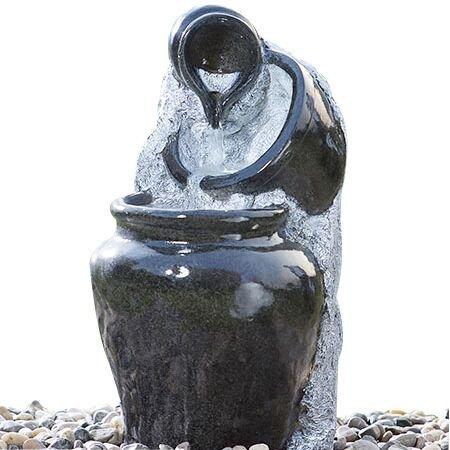 Cascade Outdoor Water Fountain 3-Tier Glazed Pots Decorative Fibeglass Garden Water Fountain