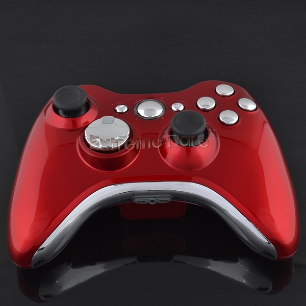 Custom-Polished-Red-Shell-with-Chrome-Silver-Buttons-For ...