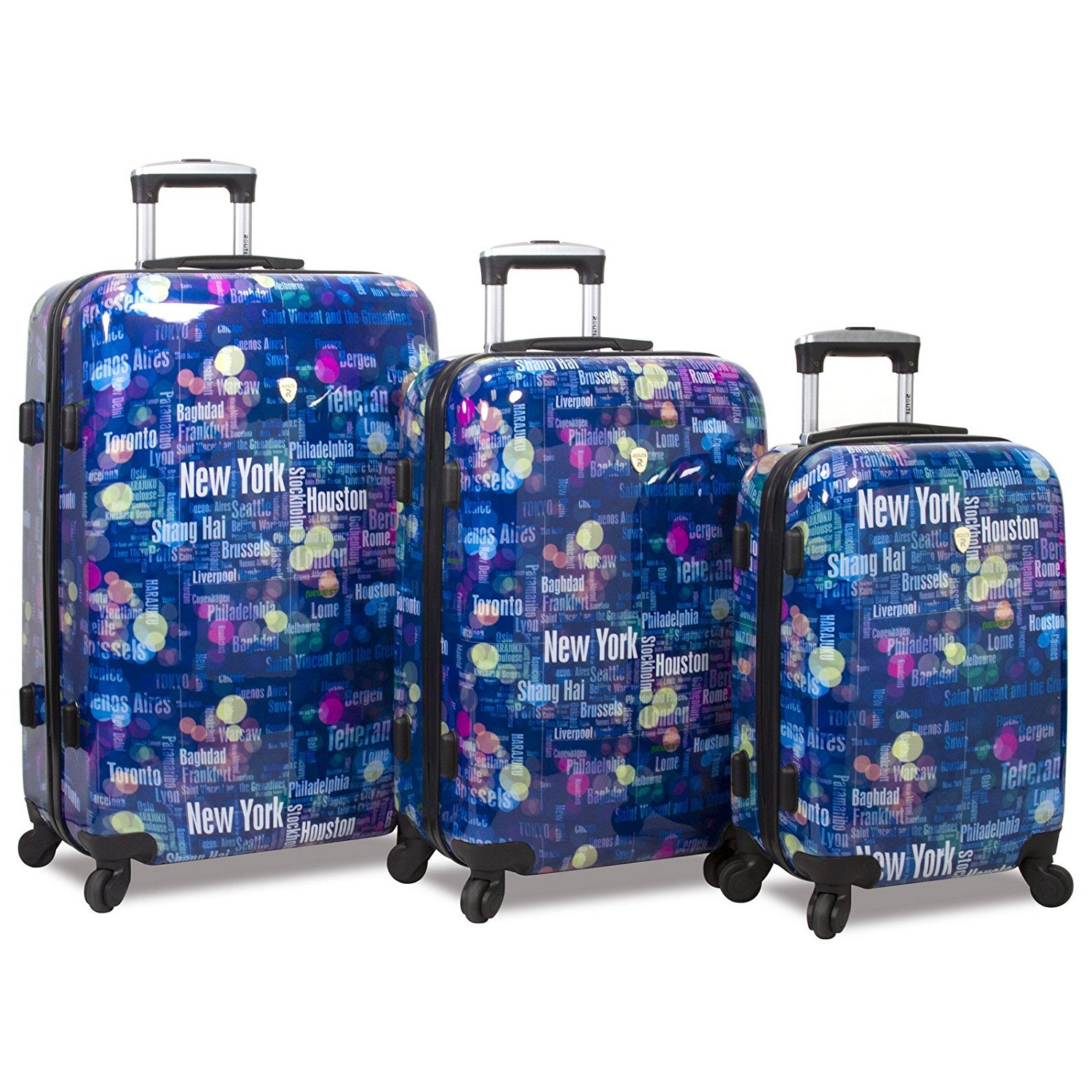 5a4076f19 Get Quotations · Rolite Lumos Night Lights 3-Piece Lightweight Hardside  Spinner Luggage Set, Destination