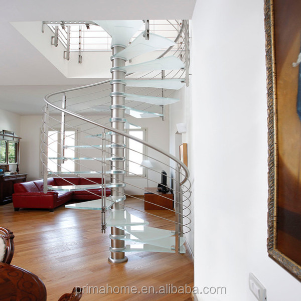Adorable Interior/Exterior Laminated Tempered Glass Tread Prefabricated Spiral Stairs