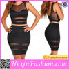 party girls two piece transparent black sexy night dress for woman
