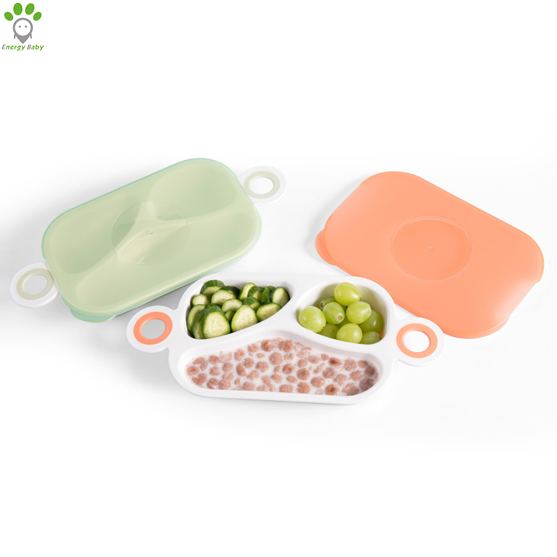 Rectangle PP <strong>Plastic</strong> Toddler Baby Divided Dinner Feeding <strong>Plate</strong> <strong>Kids</strong> Meal Food Eating <strong>Plate</strong> with Lid