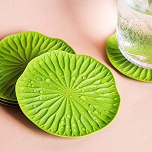 Designer Coasters Bai Bua by Qualy Design Studio. Set of 2 Green Color Funky Coasters. Coasters for Glasses - Great Housewarming Gift. Unique Home Decor Designer Accessory. Great Wine Glass Coasters.