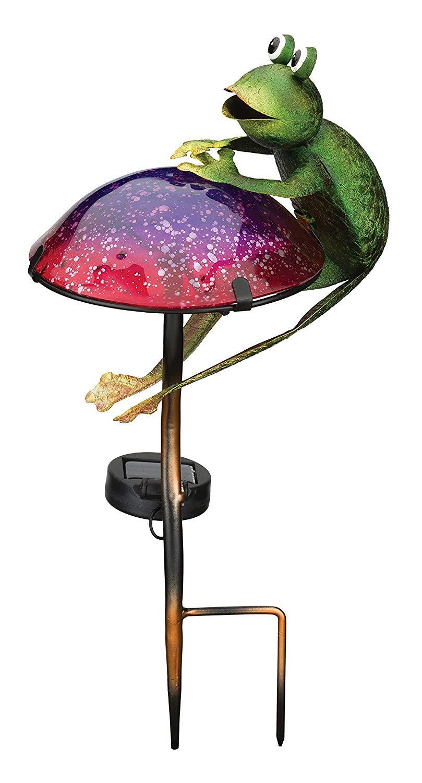 Regal Art & Gift 11798 Mushroom Critters Stake Solar Light Garden Decor, Frog