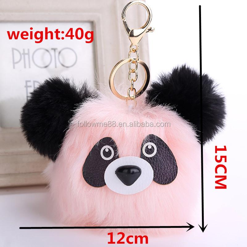 817945f665 Gold plated plush faux fur keychain for bag car key rings cartoon dog panda  keychains 57A2