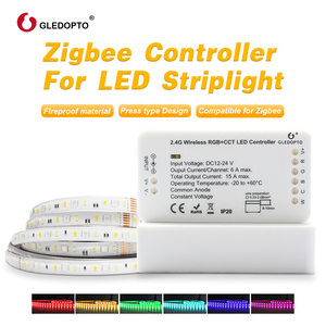 gledopto 1ID/2ID rgb+cct led controller ZIGBEE ZLL DC12-24V strip light controller work with echo plus smart app control