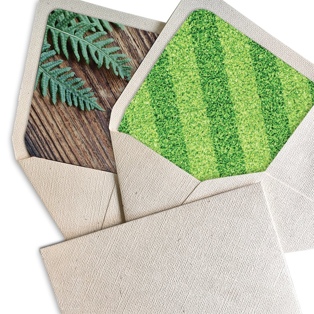 """Picky Bride A7 (5.5x7.5"""") Lined Wedding Invitations Envelopes Rustic Envelopes for Invitations Vintage Envelopes With Liner -- Set of 50 pcs (Grassland Liner)"""