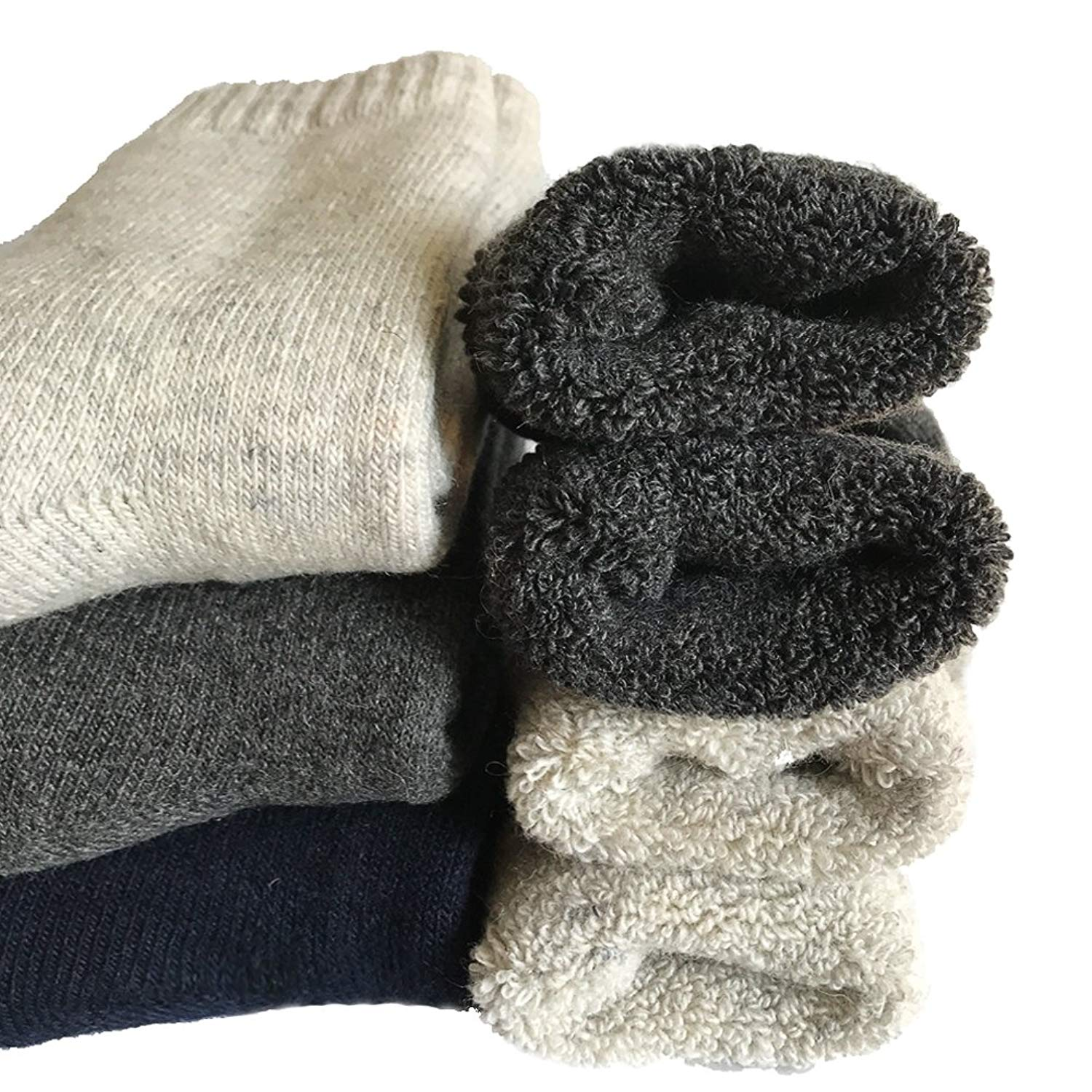 600a474410f Get Quotations · Mens Heavy Thick Wool Socks - Soft Warm Comfort Winter  Crew Socks (Pack of 3