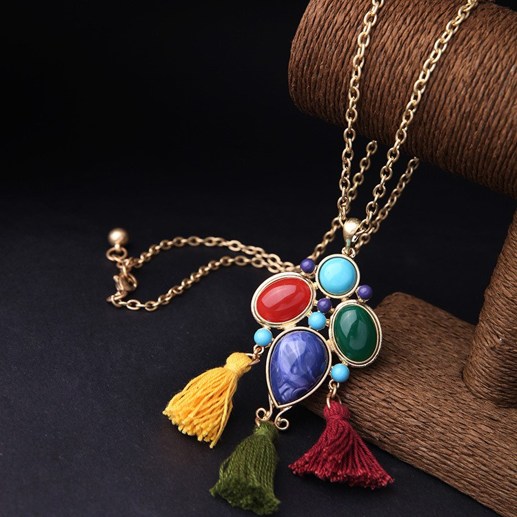 high end blue gemstone necklace gold chain jewelry