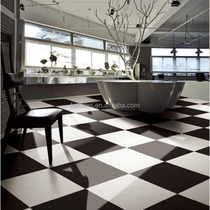 Mono Color Polished Black Floor Tiles Porcelain In China 600x600