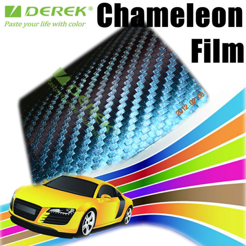 Color-changed Purple to Green Chameleon 3D Carbon Fibre Car Vinyl Film with Air Free Bubbles Stickers