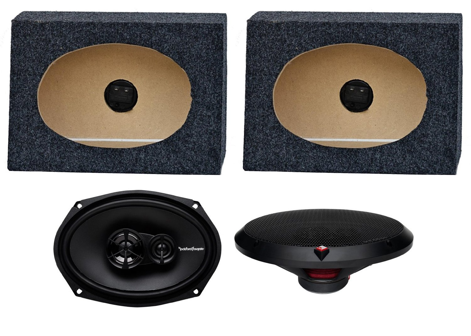 "2) Rockford Fosgate R169X3 6x9"" 130W Car Speakers + 2) Angled 6x9"" Speaker Box"
