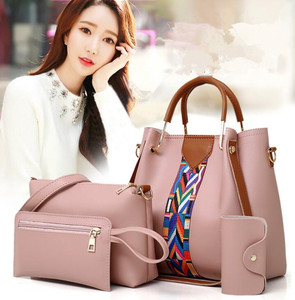 cy11282a 2018 fashion accessories hand bags PU leather bags set women tote bags 4 pcs women handbags set