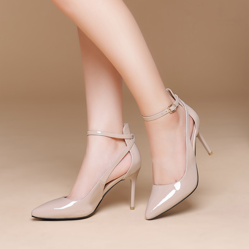 Pointed Toe Shallow Mouth Ankle Strap nude Patent Leather Women <strong>Shoes</strong>