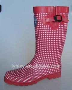 gird pattern ladies rubber fat women wellies rain boots