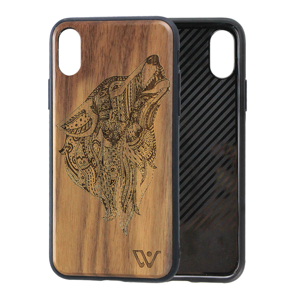 Durable Real Wood Shell Laser Engraving Custom Design Handmade Wood Phone <strong>Case</strong> for iPhone X
