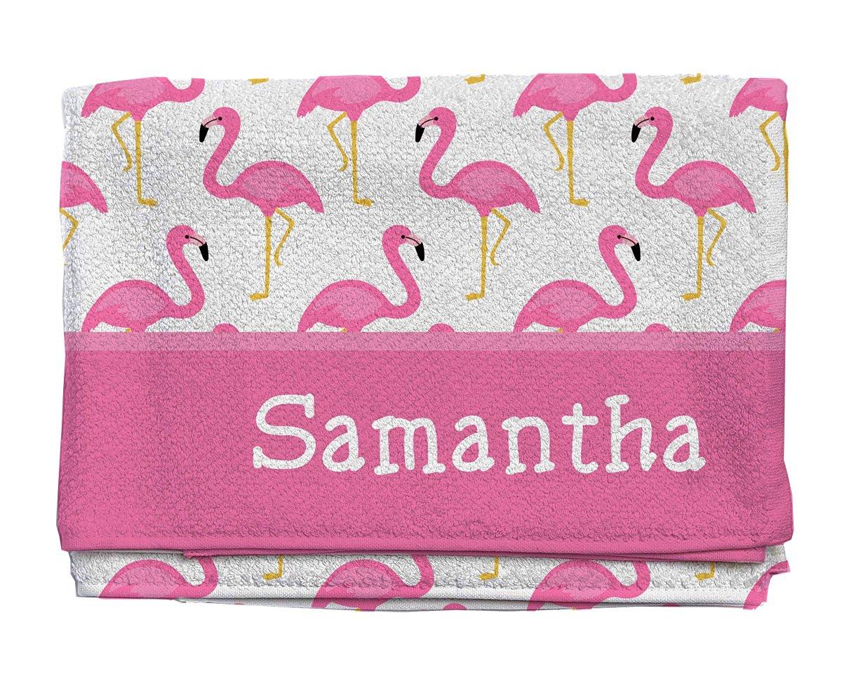 Fancy Flamingos Personalized Beach Towel | Kids Towels | Custom Camp Towels | Custom Printed Towel | Monogrammed Pool Towel