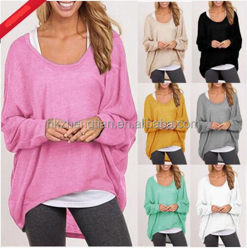 0709b47aa Oversized Women Ladies Loose Long Sleeve Shirt Blouse Baggy Tops ...