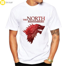 2017 Nieuwe Game Of Thrones T-shirt Mannen Cool De North Onthoudt Bloed Wolf T-shirt Blanco Shirts <span class=keywords><strong>Camisetas</strong></span> Hombre