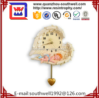 Fashion Resin Angel Large Decorative Wall Clocks For Home Decor