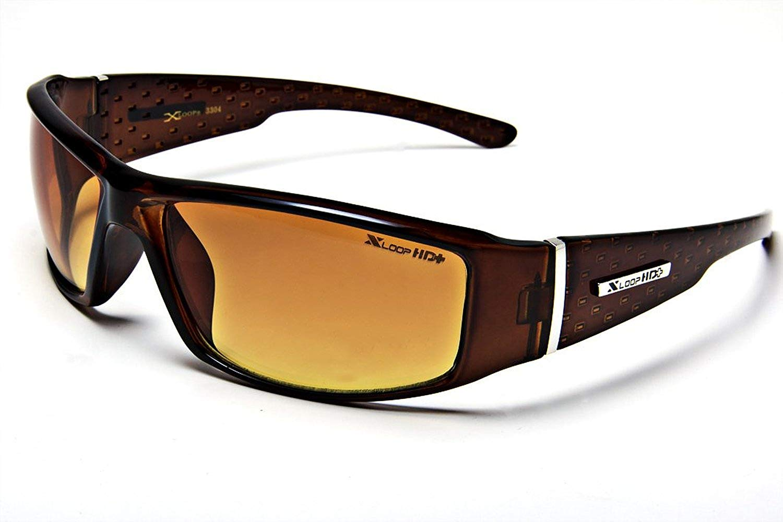 d122743520 Get Quotations · XL12 Style 1 X-Loop Eyewear BROWN HD High Definition Men s  Outdoor Sport Sunglasses