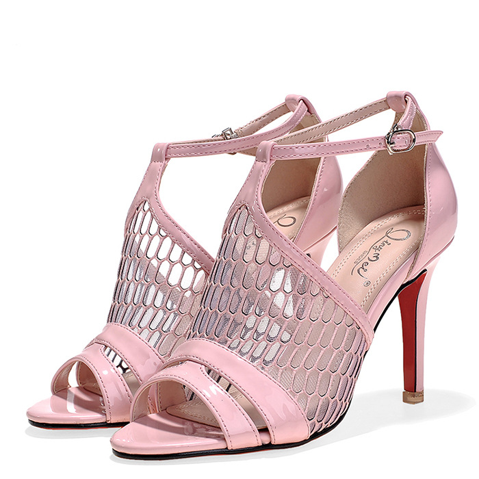 e294a5b3d4fb Get Quotations · Size 34 To 39 Hollow Out T-strap Silver Bridal Sandals  High Heels Pink Pumps