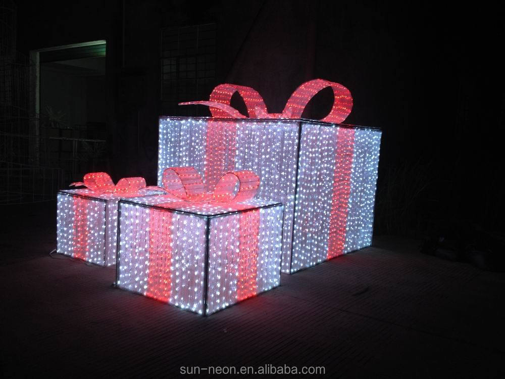 Holiday Decoration Led Street Motif 3d Gift Box Outdoor
