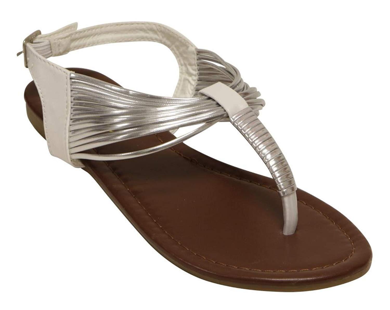 5446654de ANNA LYNK-11 Women Gladiator T Strap Ankle Strap Flat Metallic Trim Thong  Sandal