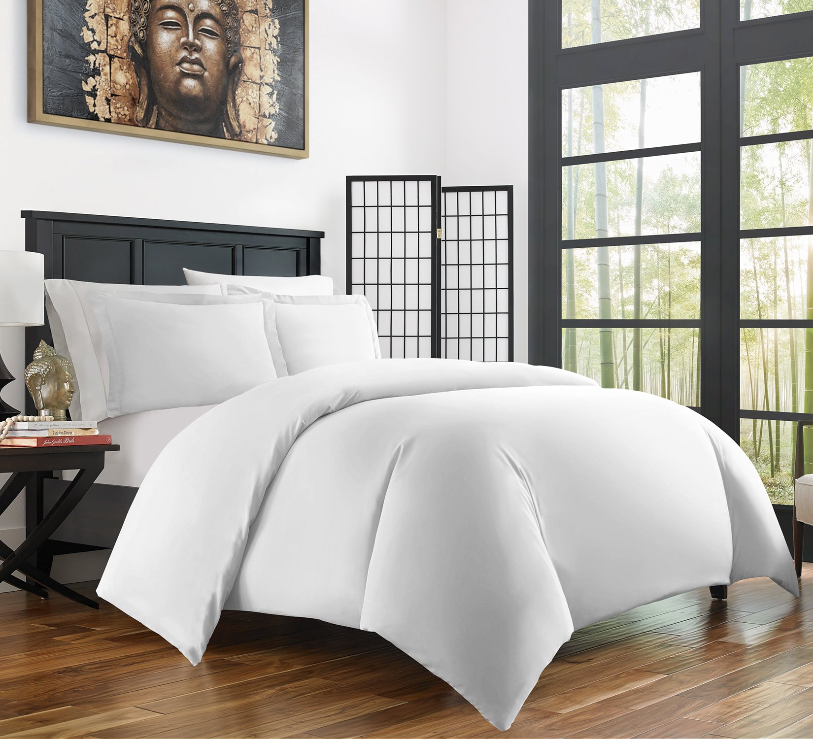 Zen Bamboo Ultra Soft 3-Piece Bamboo Derived Rayon Duvet Cover Set -Hypoallergenic and Wrinkle Resistant - Twin/Twin XL - White